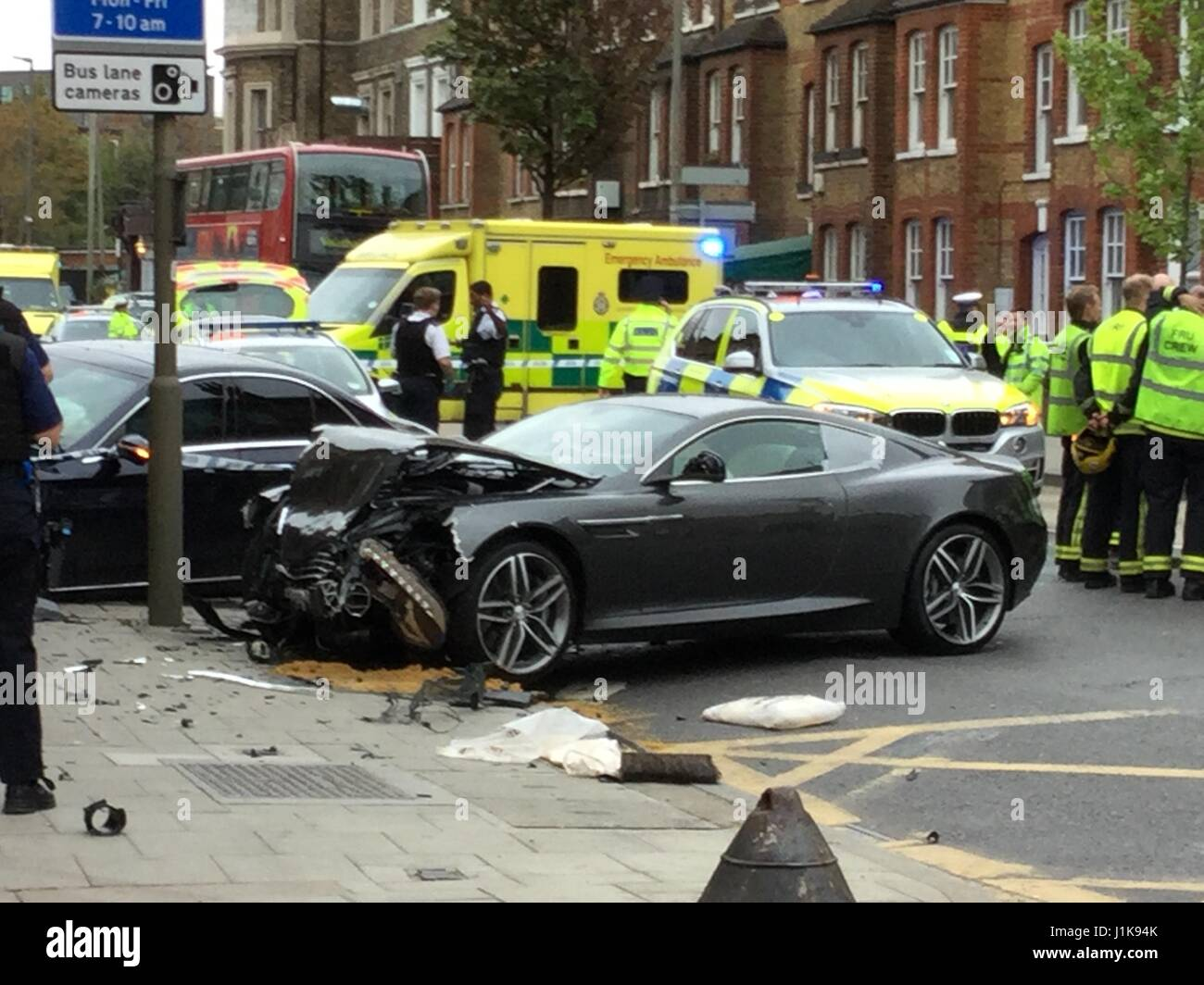 Battersea, London, UK. 22nd Apr, 2017. A crash involving a Sports Jaguar, Mercedes Saloon and moped occurred, Saturday Stock Photo
