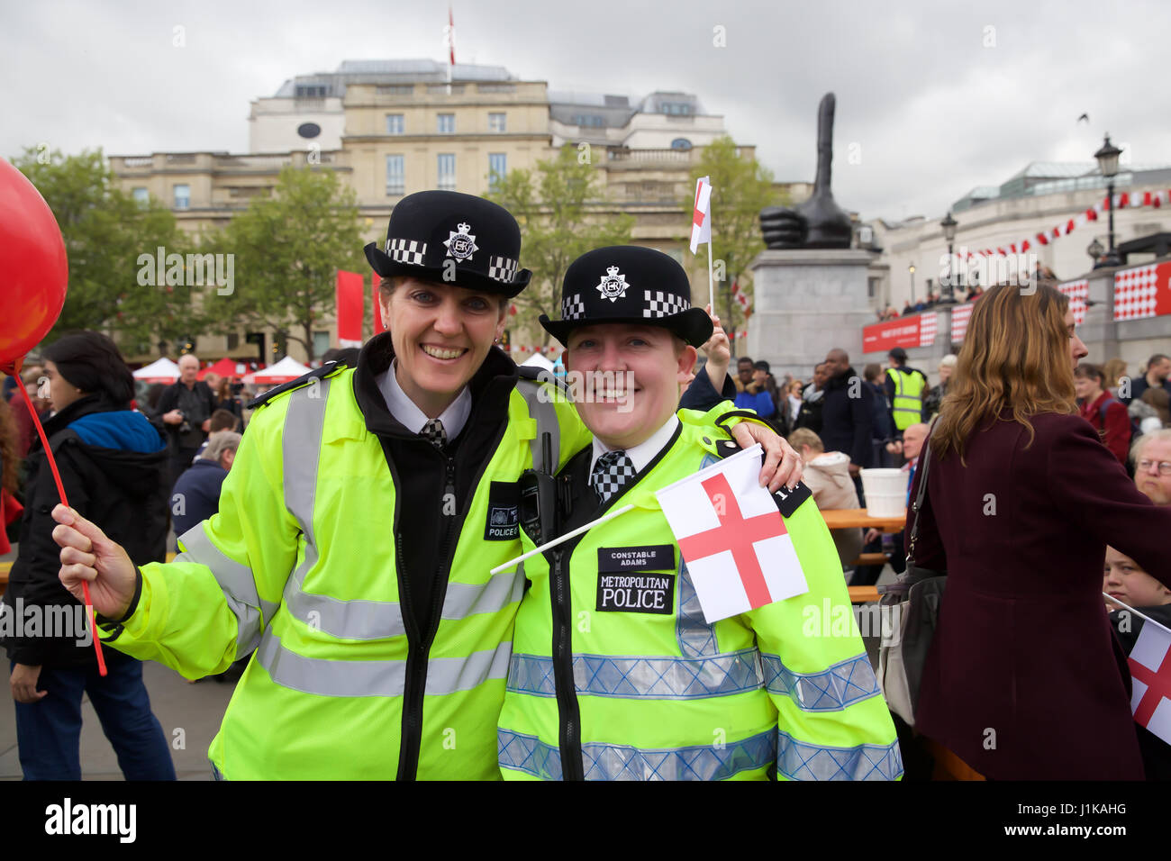 Trafalgar Square,UK,22nd April 2017,Police enjoy The Annual Feast of St George celebrations which took place in - Stock Image