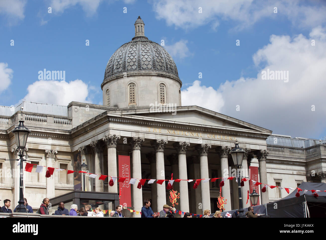 Trafalgar Square,UK,22nd April 2017,Flags hang in front of the National Gallery at The Annual Feast of St George - Stock Image