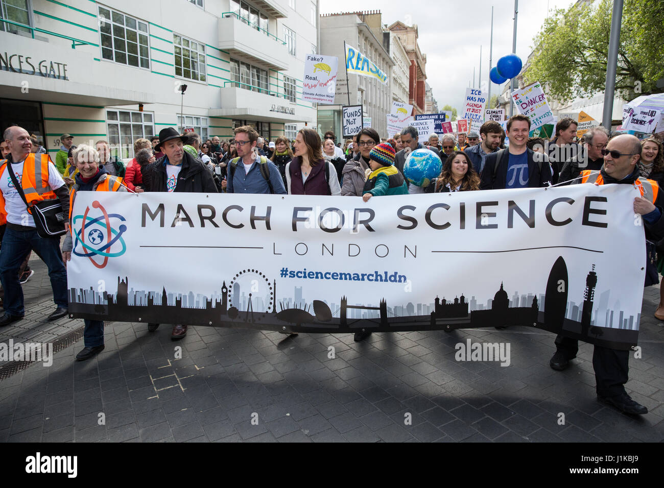 London, UK. 22nd Apr, 2017. Scientists march through central London on the 'March for Science' as part of a global Stock Photo