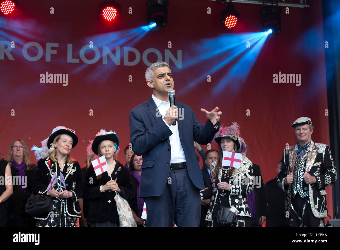 London, UK. 22nd Apr, 2017. Sadiq Khan, Mayor of London attends the annual St George's Day Feast in Trafalgar Square. Stock Photo