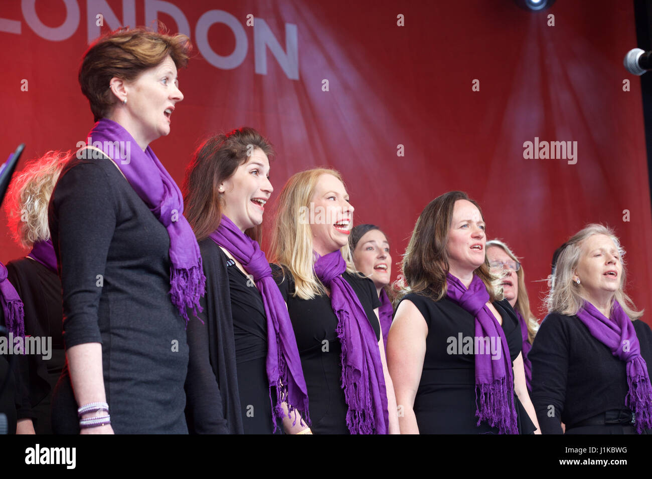 Trafalgar Square,UK,22nd April 2017,Military Wives Choir sing at The Annual Feast of St George celebrations which - Stock Image