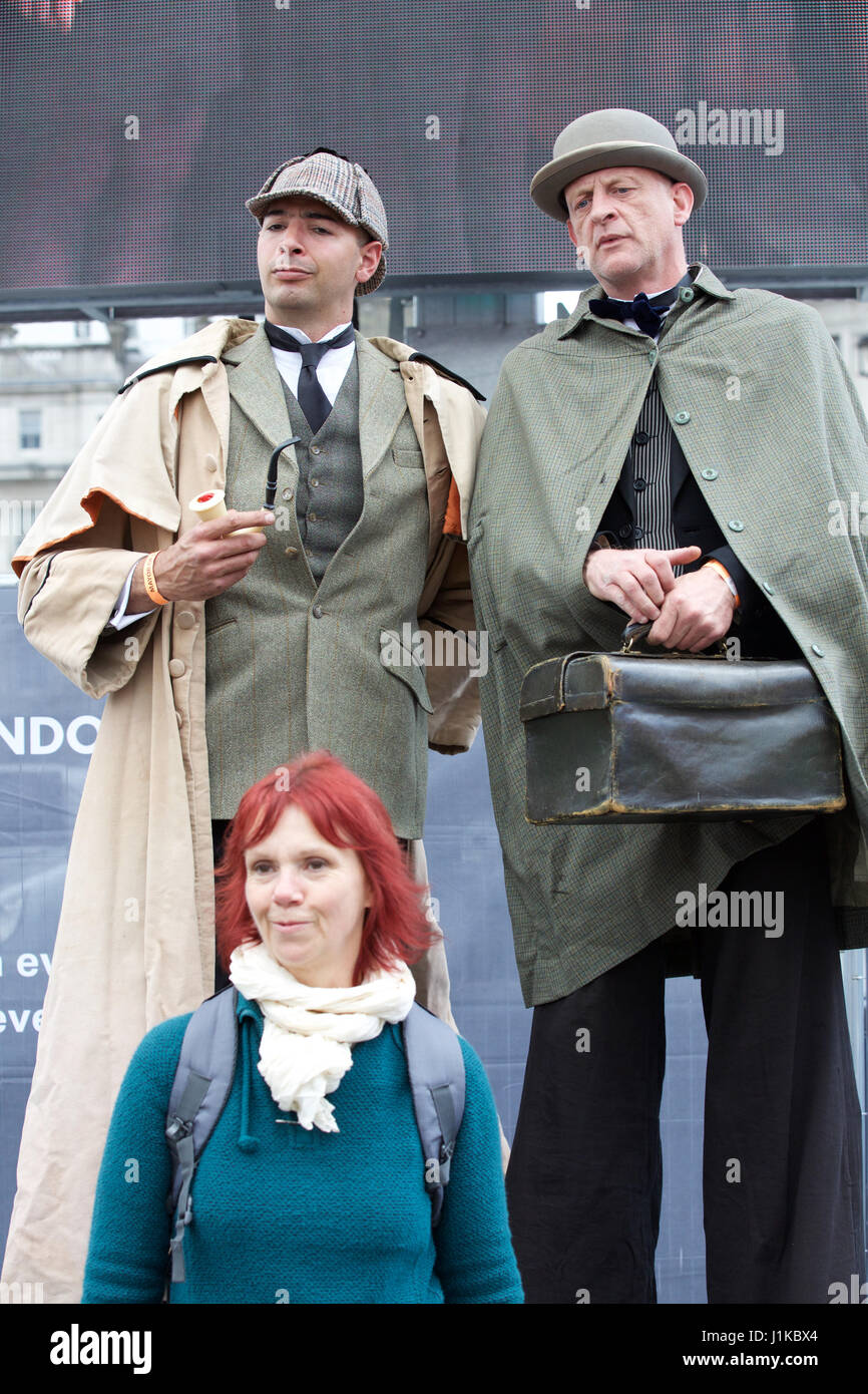 Trafalgar Square,UK,22nd April 2017,Sherlock Holmes attends The Annual Feast of St George celebrations took place - Stock Image