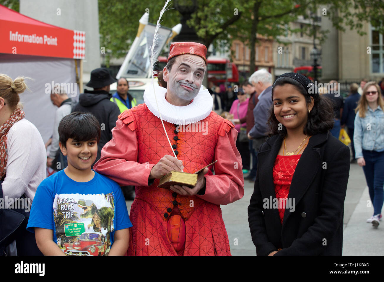 Trafalgar Square,UK,22nd April 2017,The Annual Feast of St George celebrations took place in Trafalgar Square London - Stock Image
