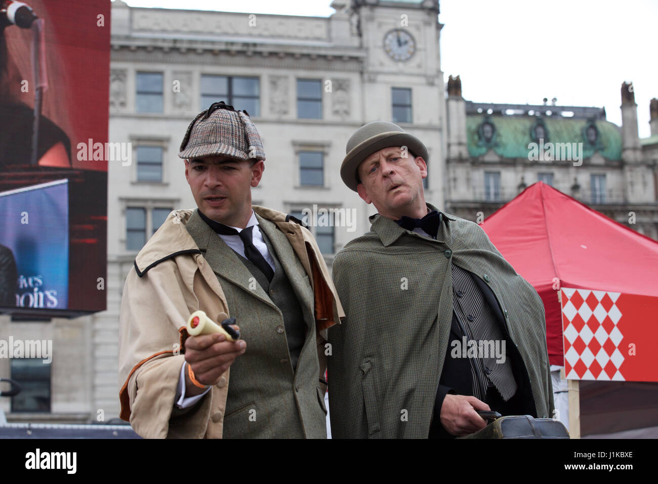 Trafalgar Square,UK,22nd April 2017,Sherlock Holmes and Dr Watson attend The Annual Feast of St George celebrations - Stock Image