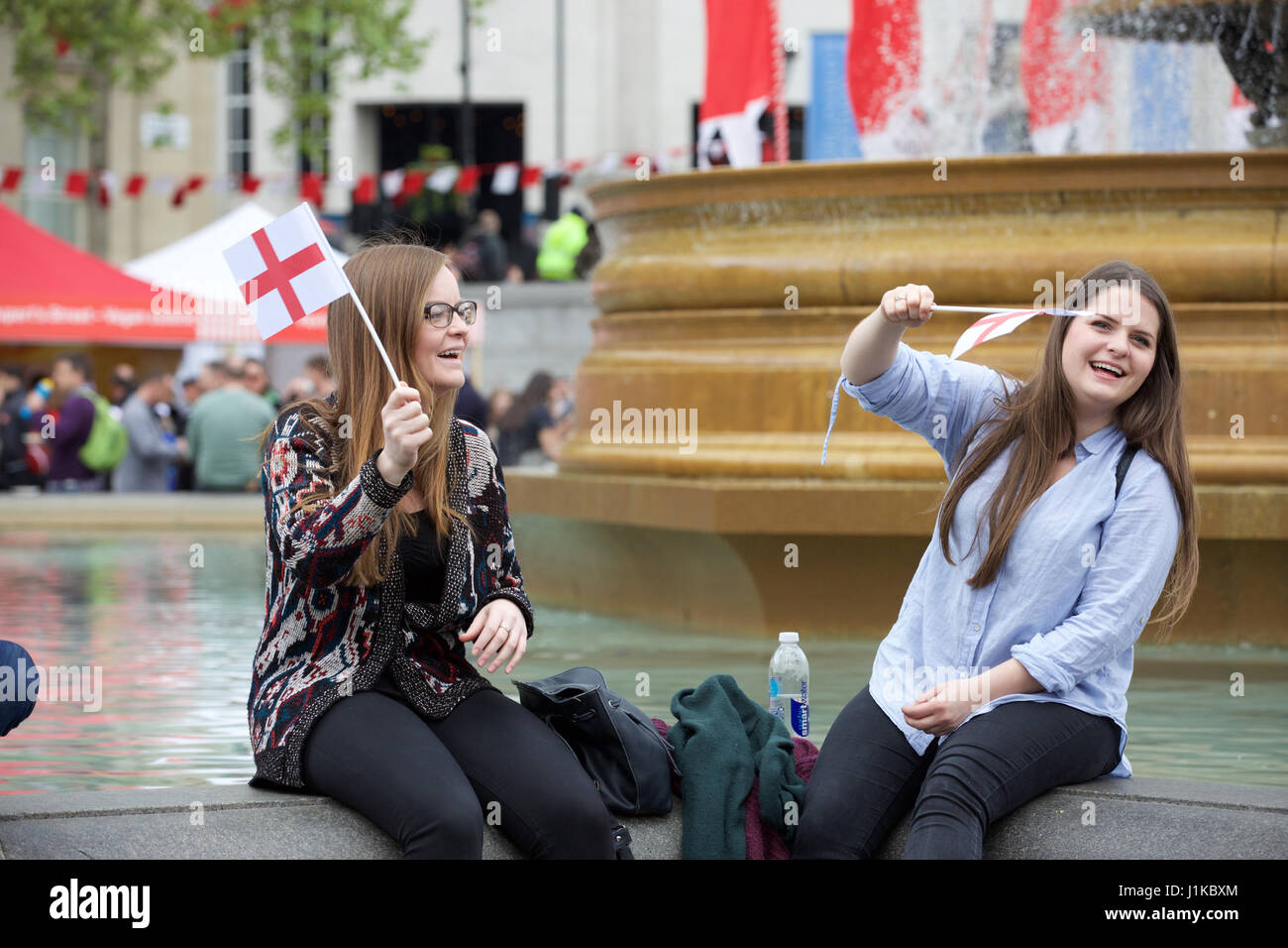 Trafalgar Square,UK,22nd April 2017,People flag waving at The Annual Feast of St George celebrations which took - Stock Image