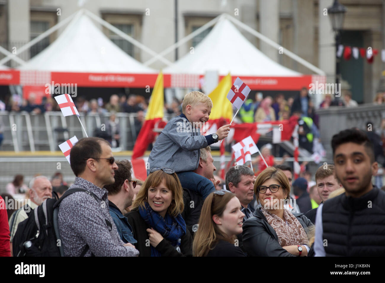 Trafalgar Square,UK,22nd April 2017,Crowds enjoy the The Annual Feast of St George celebrations which took place - Stock Image