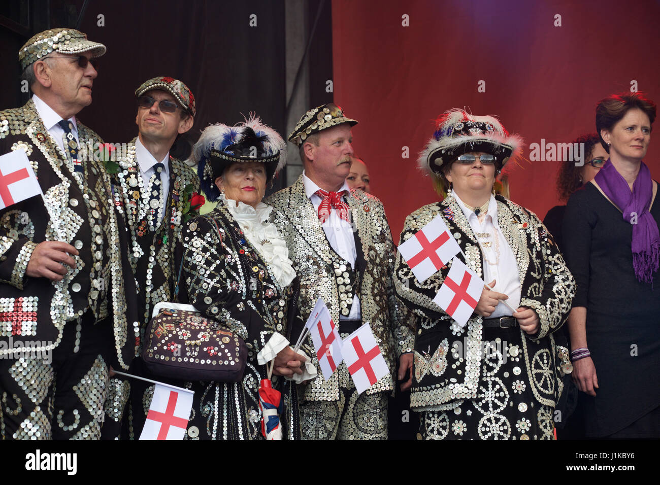 Trafalgar Square,UK,22nd April 2017,Pearly Kings and Queens attend The Annual Feast of St George celebrations which - Stock Image