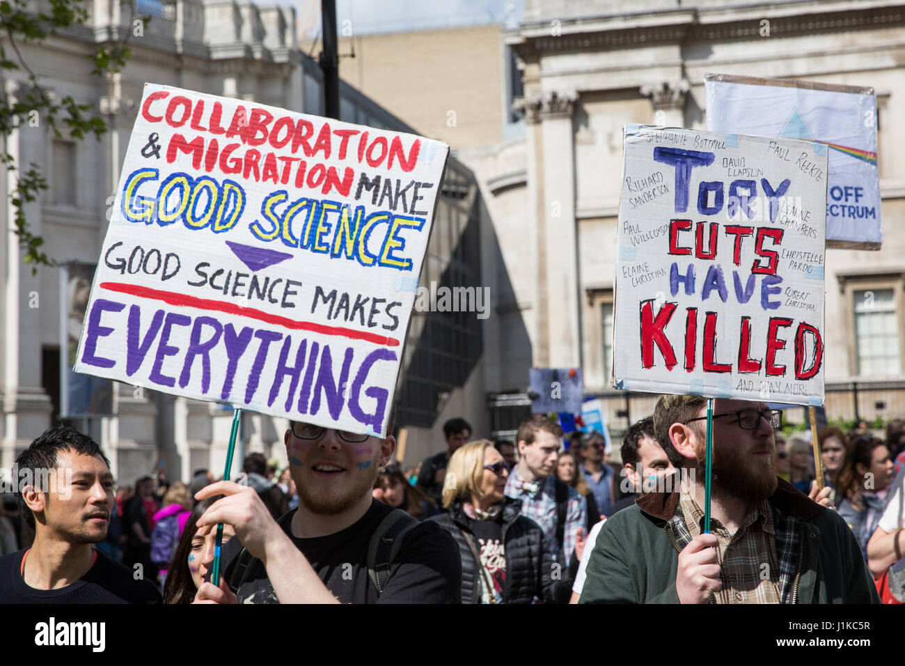 London, UK. 22nd April, 2017. Scientists march through central London on the 'March for Science' as part of a global - Stock Image
