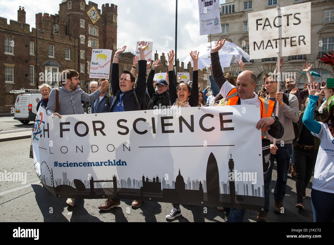 London, UK. 22nd April, 2017. Scientists march through central London on the 'March for Science' as part of a global Stock Photo