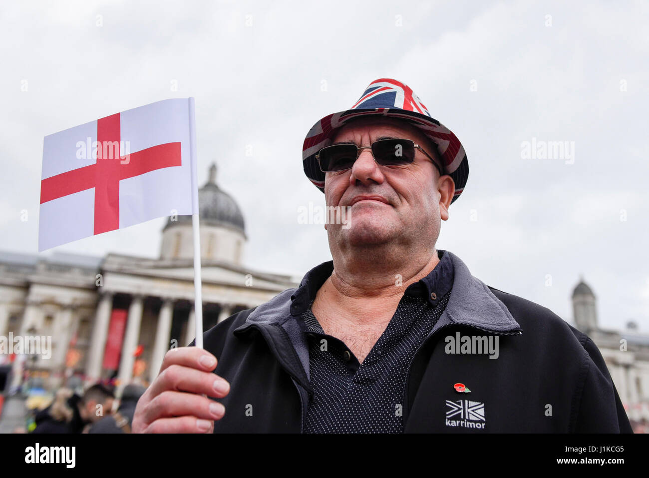 London, UK.  22 April 2017.  People gather in Trafalgar Square to celebrate the Feast of St. George, hosted by Sadiq Stock Photo