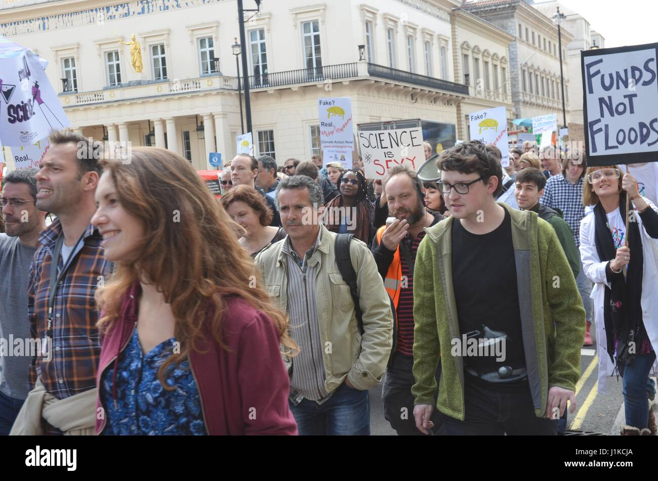 London, UK. 22nd Apr, 2017. Academic ,and science students took to the  central london angry and dismayed at Austerity Stock Photo