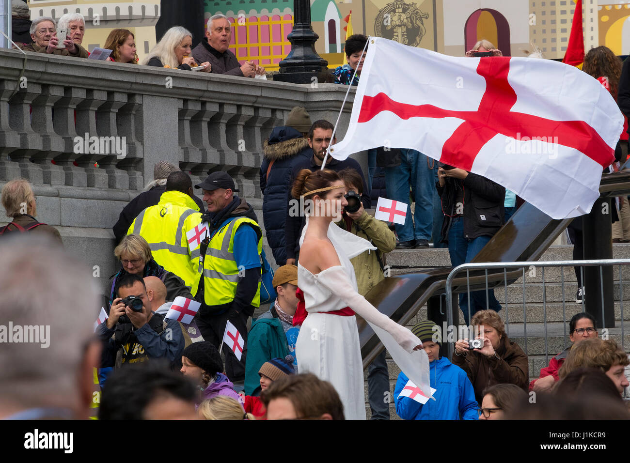 Trafalgar Square, London, UK. 22nd Apr, 2017. London celebrates St Georges Day at the Mayor of London's annual Feast Stock Photo