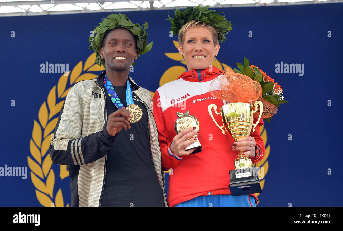 Belgrade. 22nd Apr, 2017. Gold medalists Kenya's Stephen Kipngetich Katam (L) and Serbia's Olivera Jevtic - Stock Image