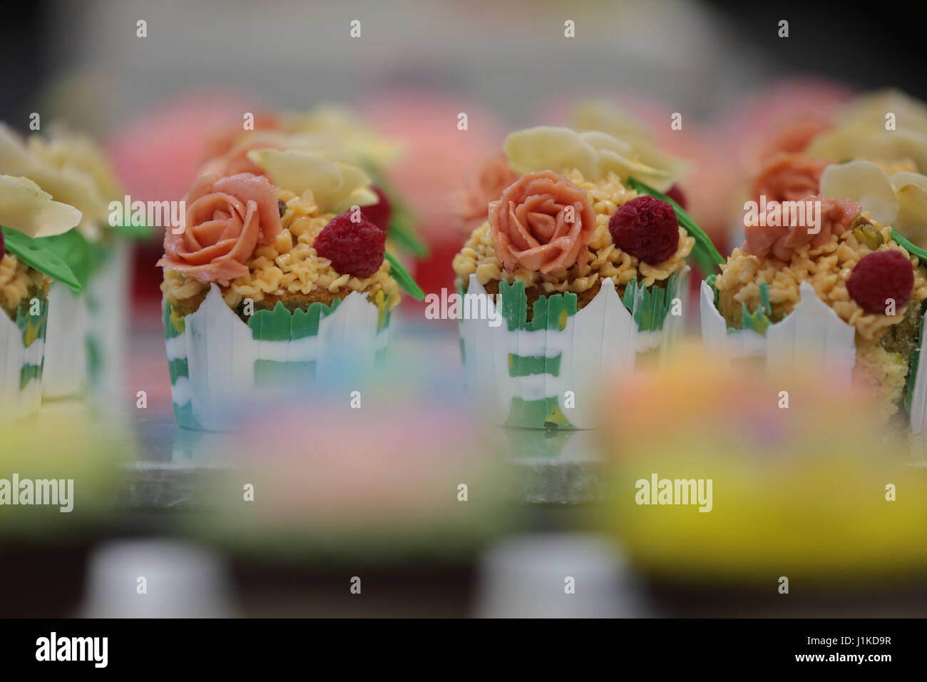 Alexander Palace. London, UK. 22nd Apr, 2017. Cupcakes. Cake International 2017, the Cake Decorating and Baking Stock Photo
