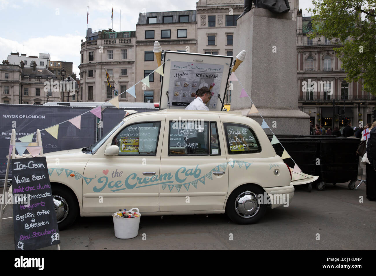 Trafalgar Square,UK,22nd April 2017,The ice cream cab at The Annual Feast of St George celebrations which took place - Stock Image