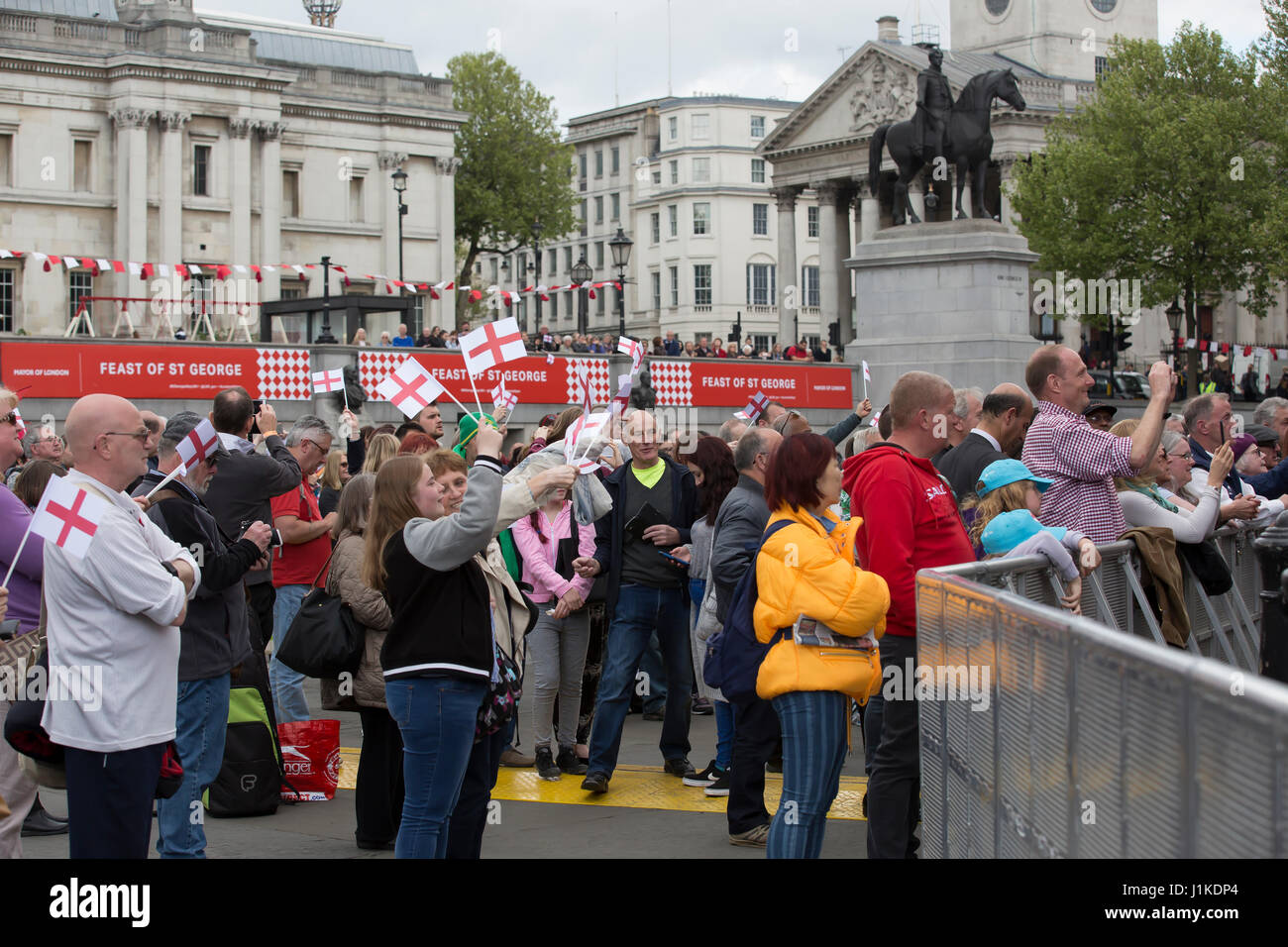 Trafalgar Square, UK. 22nd Apr, 2017. The Annual Feast of St George celebrations took place in Trafalgar Square - Stock Image