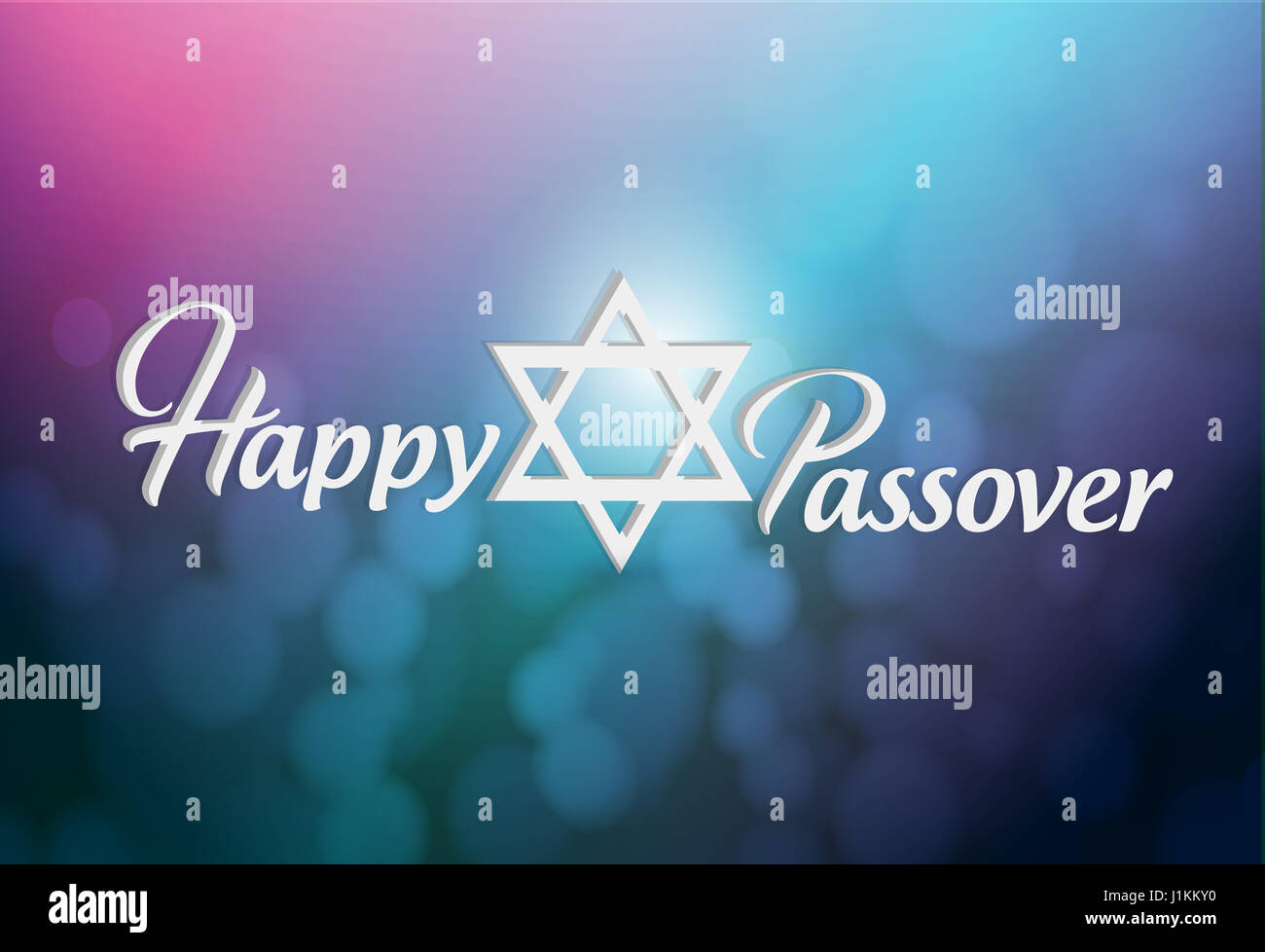 happy passover sign card illustration design over a blue and purple