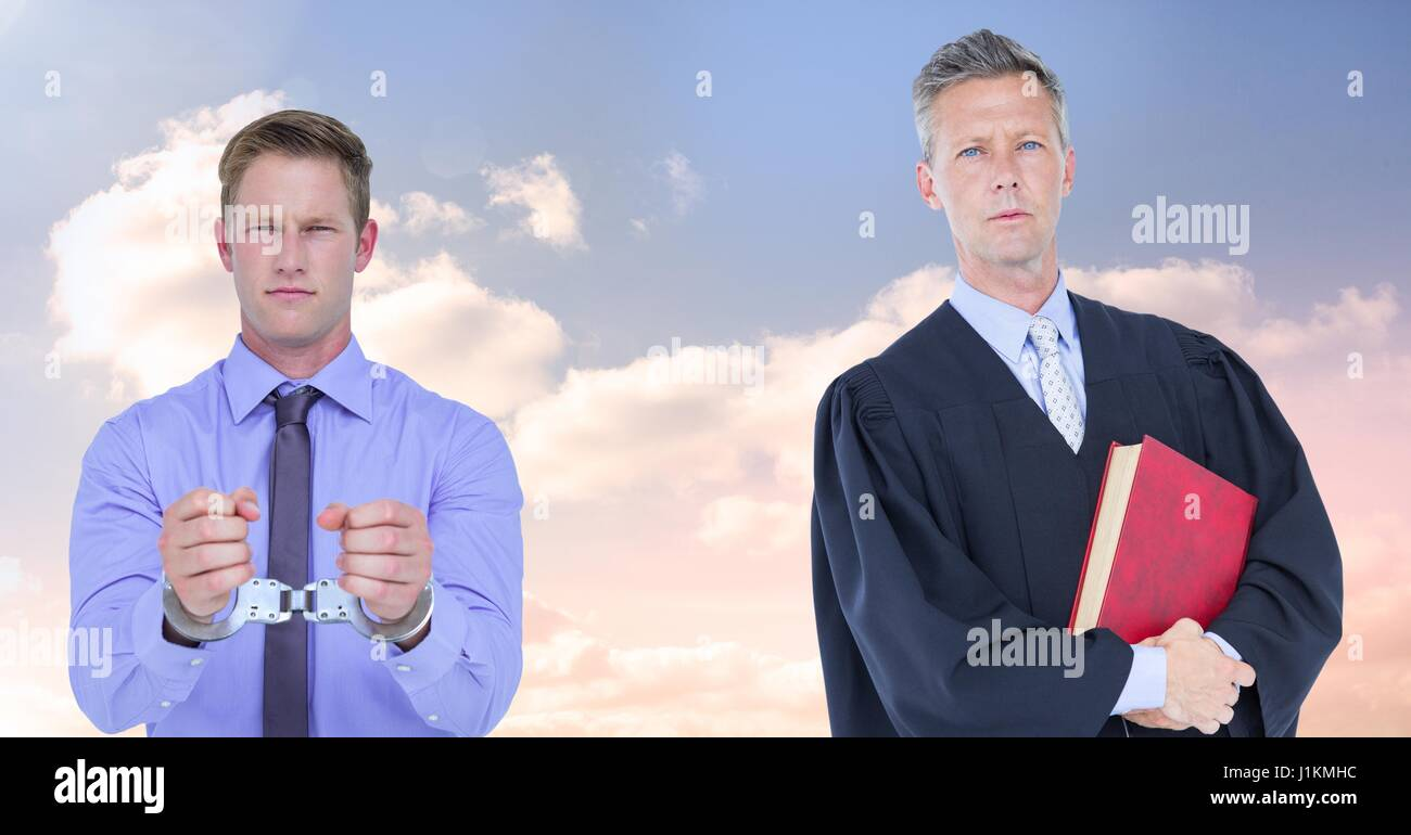 Digital composite of Judge and criminal in front of sky clouds - Stock Image