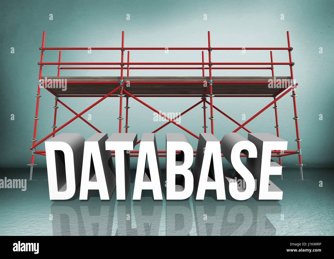 Digital composite of 3D word database against scaffolding in green room - Stock Image