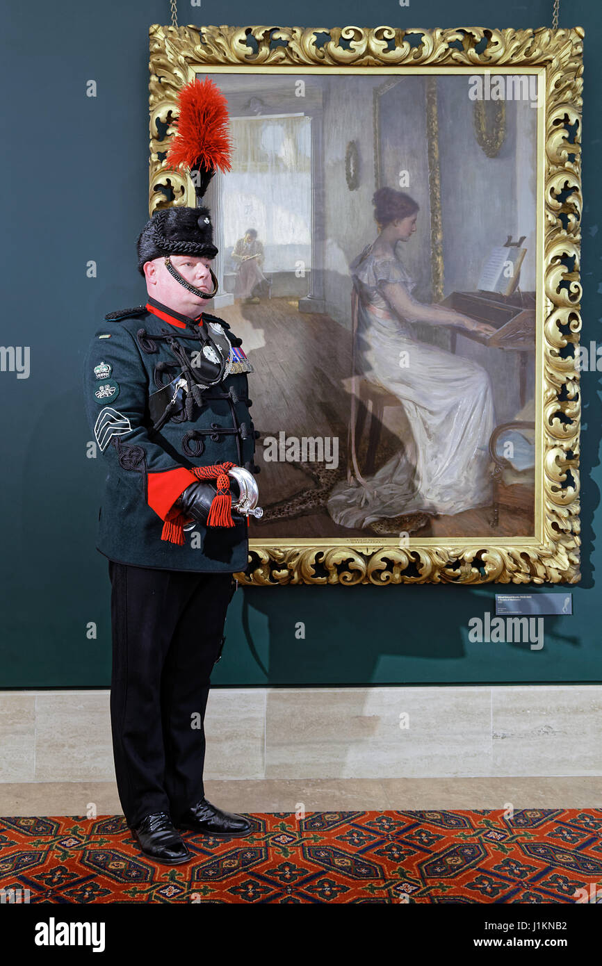 Bugler SMI Phil King of the Oxfordshire Battalion & Alfred Emslie's 'A Sonata of Beethoven'. - Stock Image
