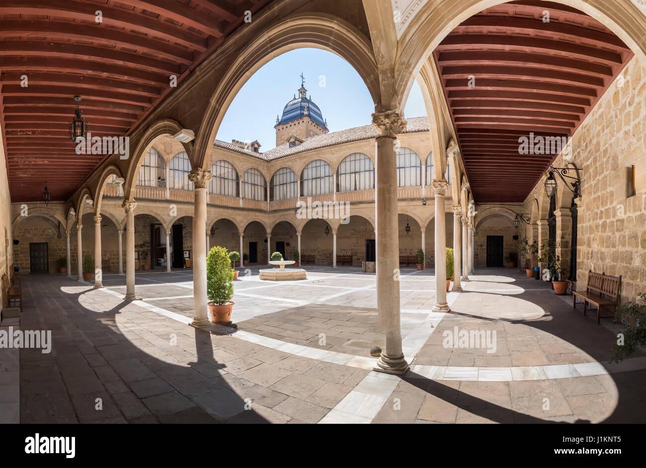 Hospital de Santiago Courtyard in Úbeda  (Cultural heritage of Humanity city), Jaén, Spain. World Heritage - Stock Image