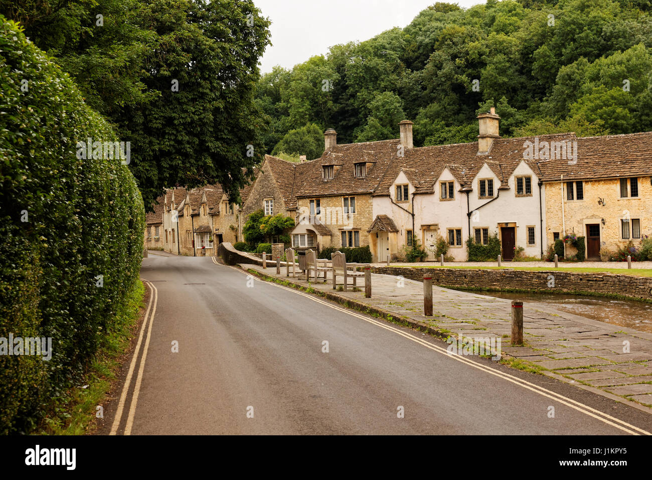 Main street in Castle Combe, Wiltshire, England, UK - Stock Image