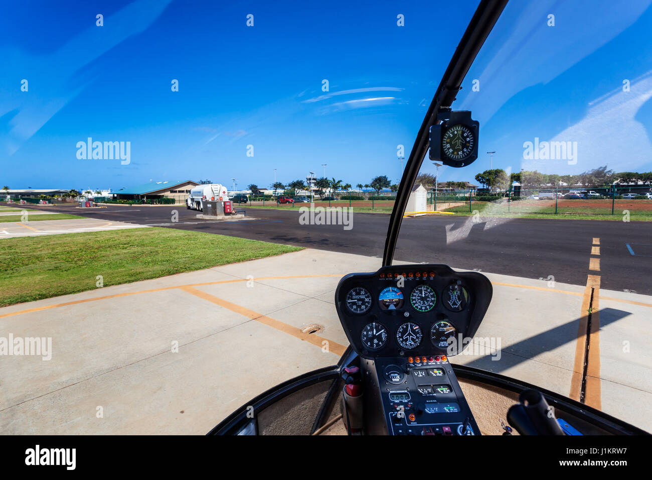 Helicopter cockpit at Lihue airport, Kauai - Stock Image