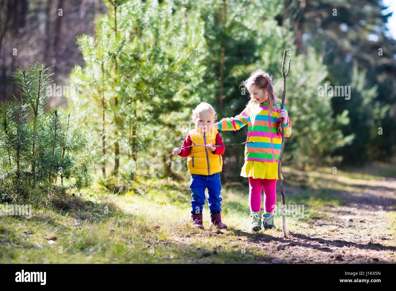 Little Boy And Girl Camping Hiking In Sunny Summer Forest Kids Hike The Alps Mountains Family With Children On Autumn Trekking Trip Camp