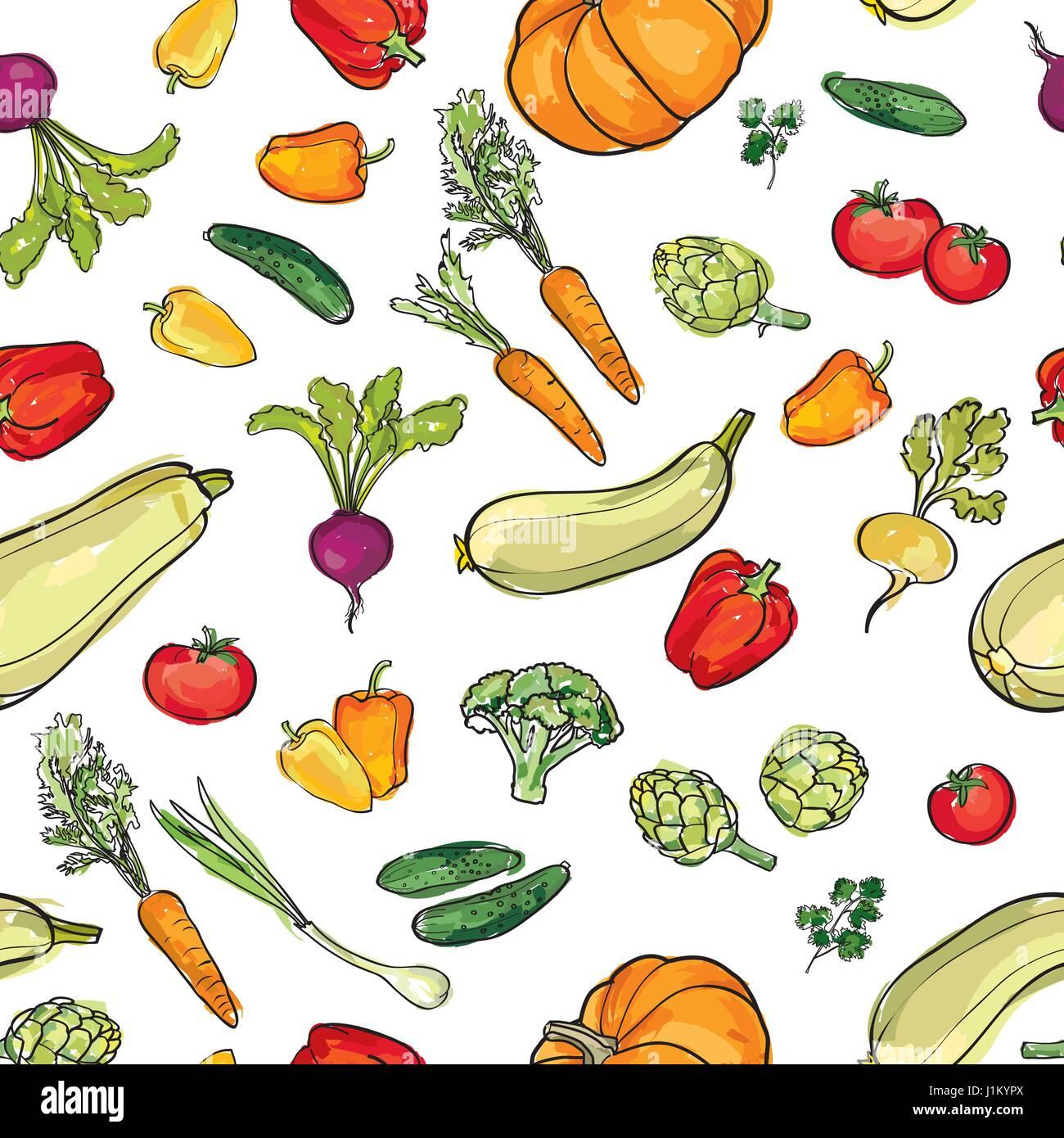 Food Ingredient Seamless Watercolor Pattern Vegetable Background