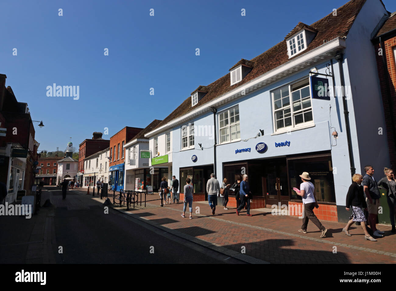Shops in the High Street, Godalming Surrey England - Stock Image