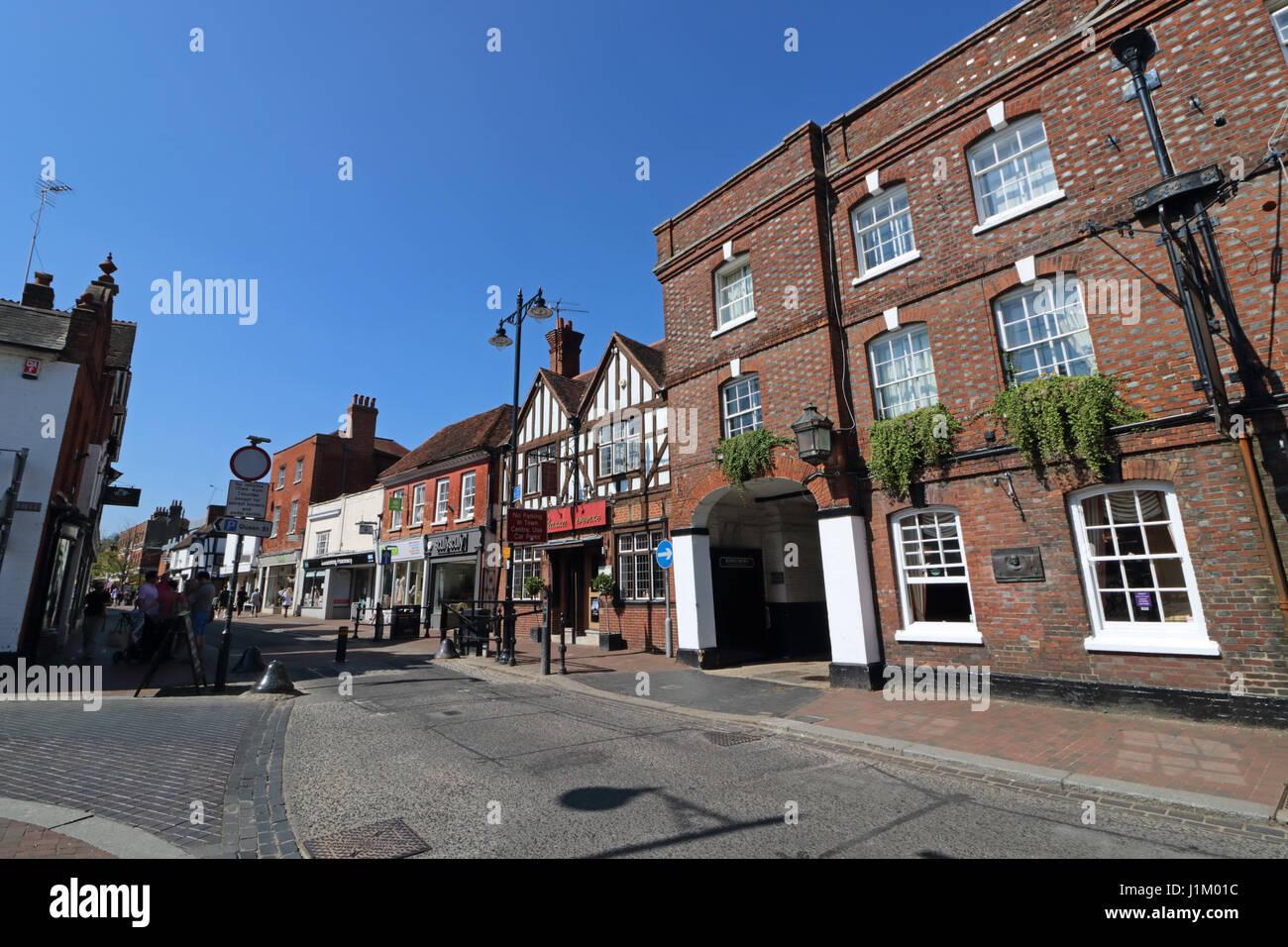 High street shopping Godalming Surrey England - Stock Image