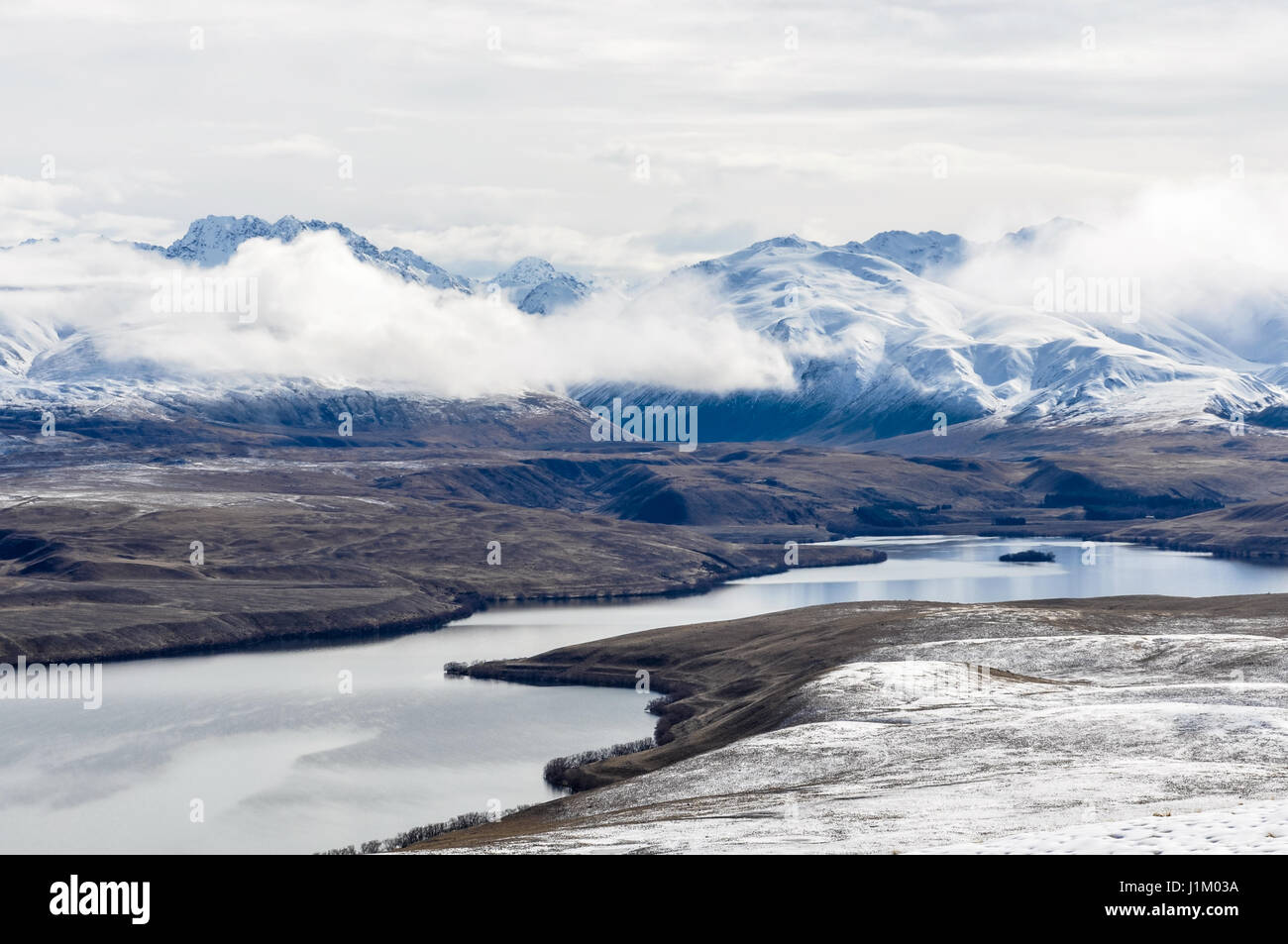 View of Lake Tekapo from above, Southern Island of New Zealand - Stock Image