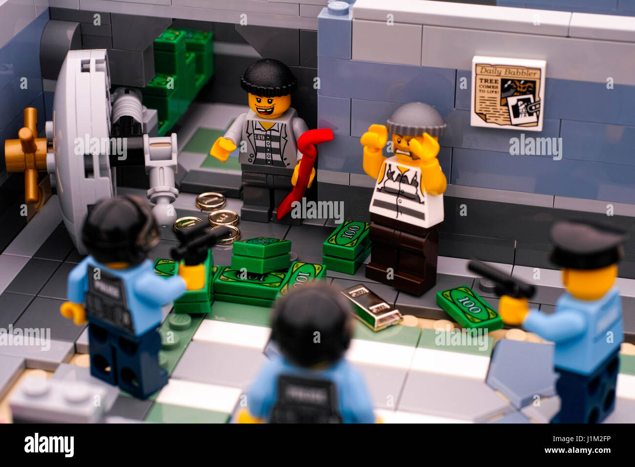 Tambov, Russian Federation - January 08, 2017 Lego bank burglary. Two robbers arrested by three policemans after - Stock Image