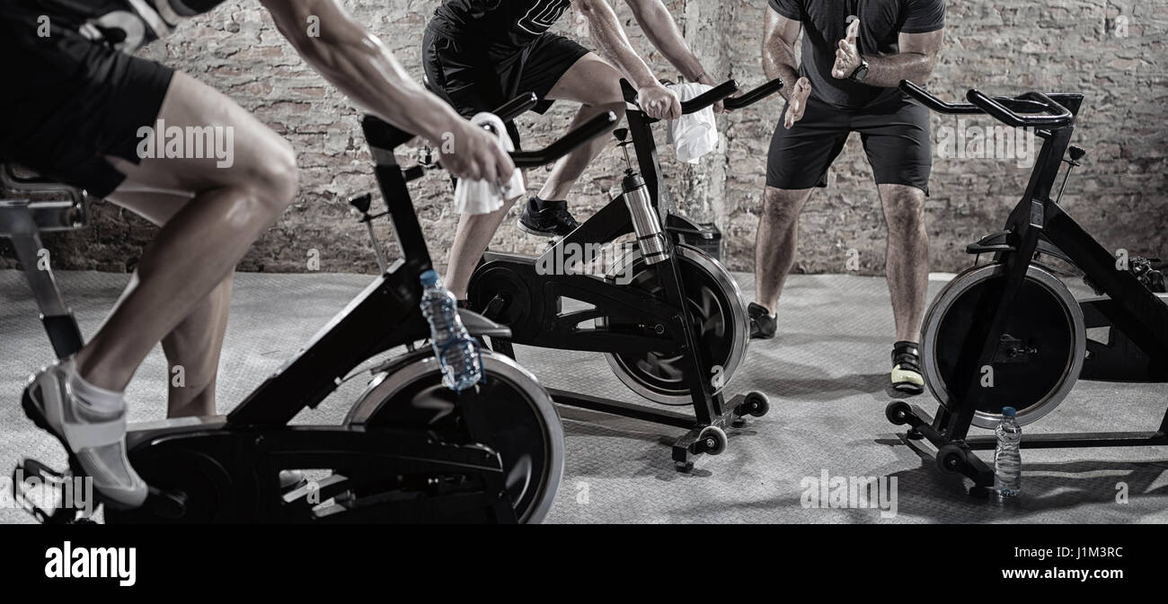 Cardio training on bicycle, sport and healthy lifestyle - Stock Image