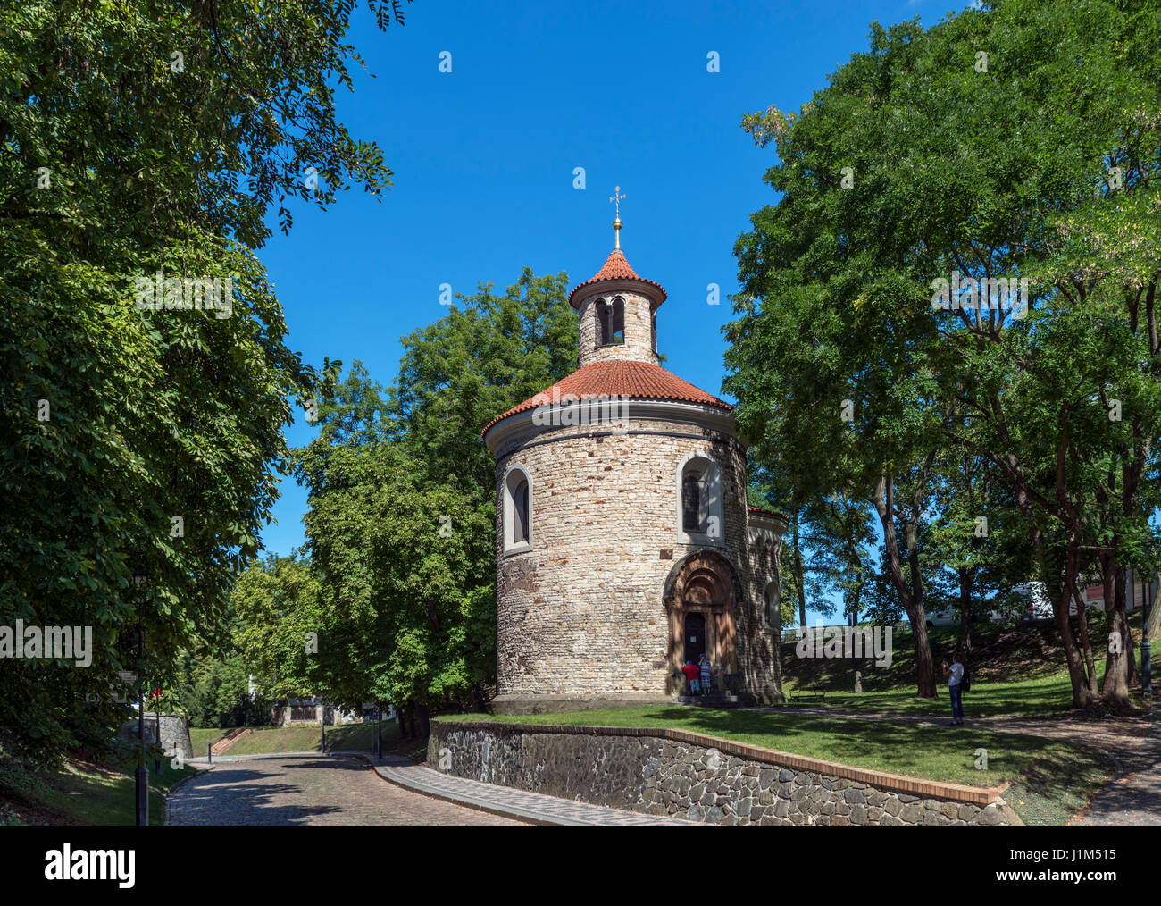 The 11th century Rotunda of St Martin, considered to be Prague's oldest surviving building, Vysehrad Citadel, - Stock Image
