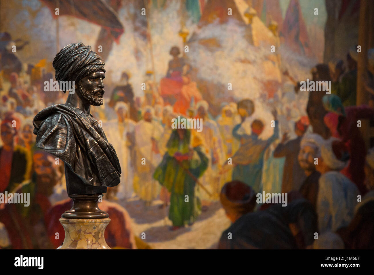 London, UK. 21 April 2017. Arab Sheikh of Cairo bust by Charles-Henri-Joseph Cordier, est. GBP 30,000-50,000 in - Stock Image
