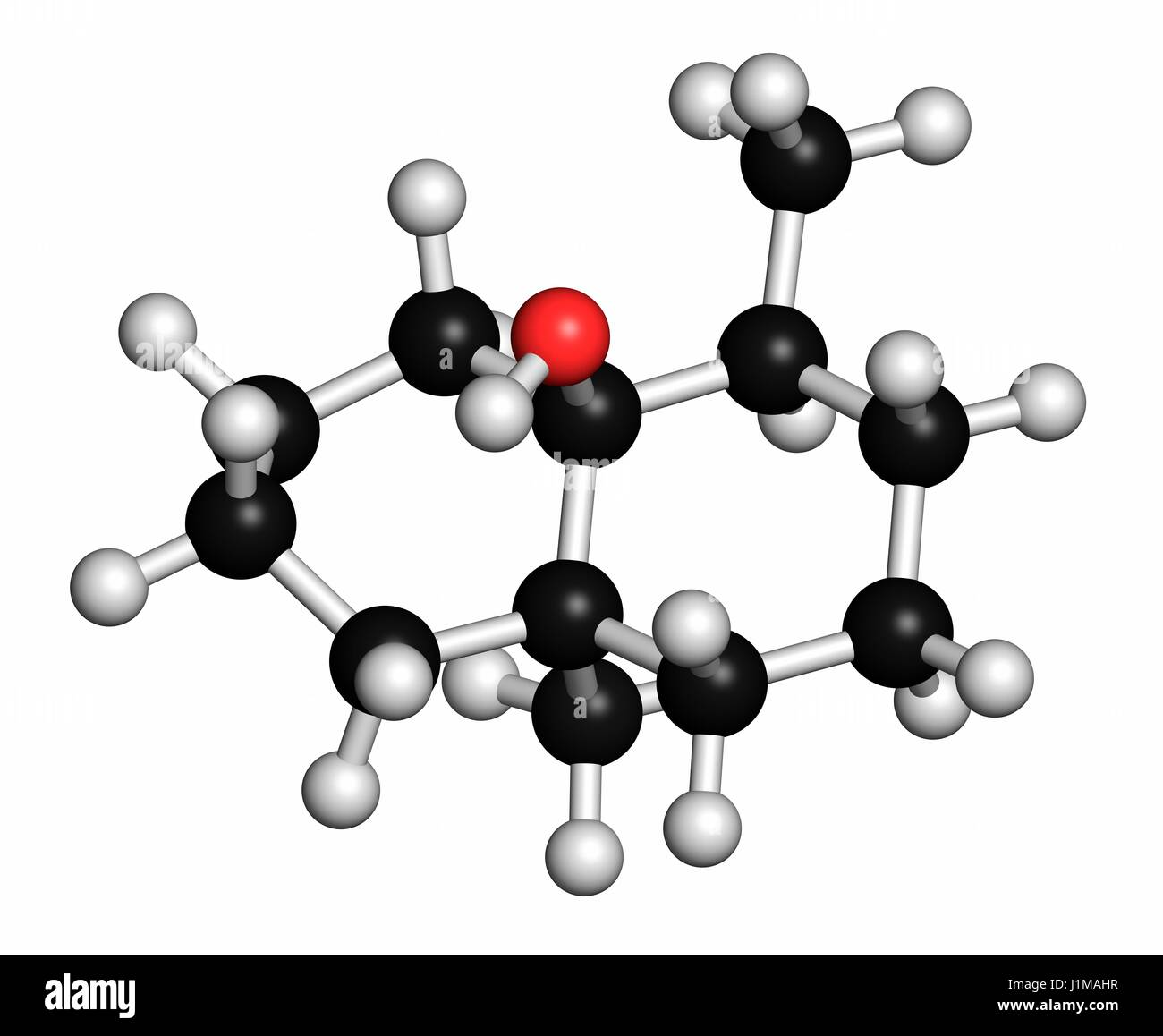 Geosmin earthy flavour molecule. Responsible for the typical taste of beetroot. Atoms are represented as spheres - Stock Image