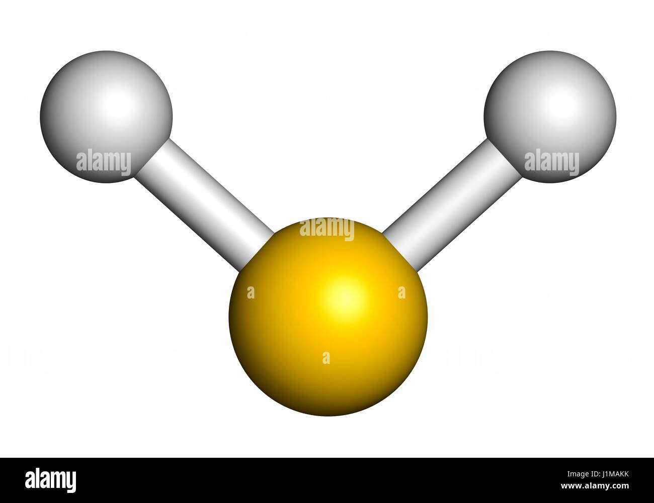 Hydrogen sulfide (H2S) molecule. Toxic gas with characteristic odour of rotten eggs. Atoms are represented as spheres - Stock Image