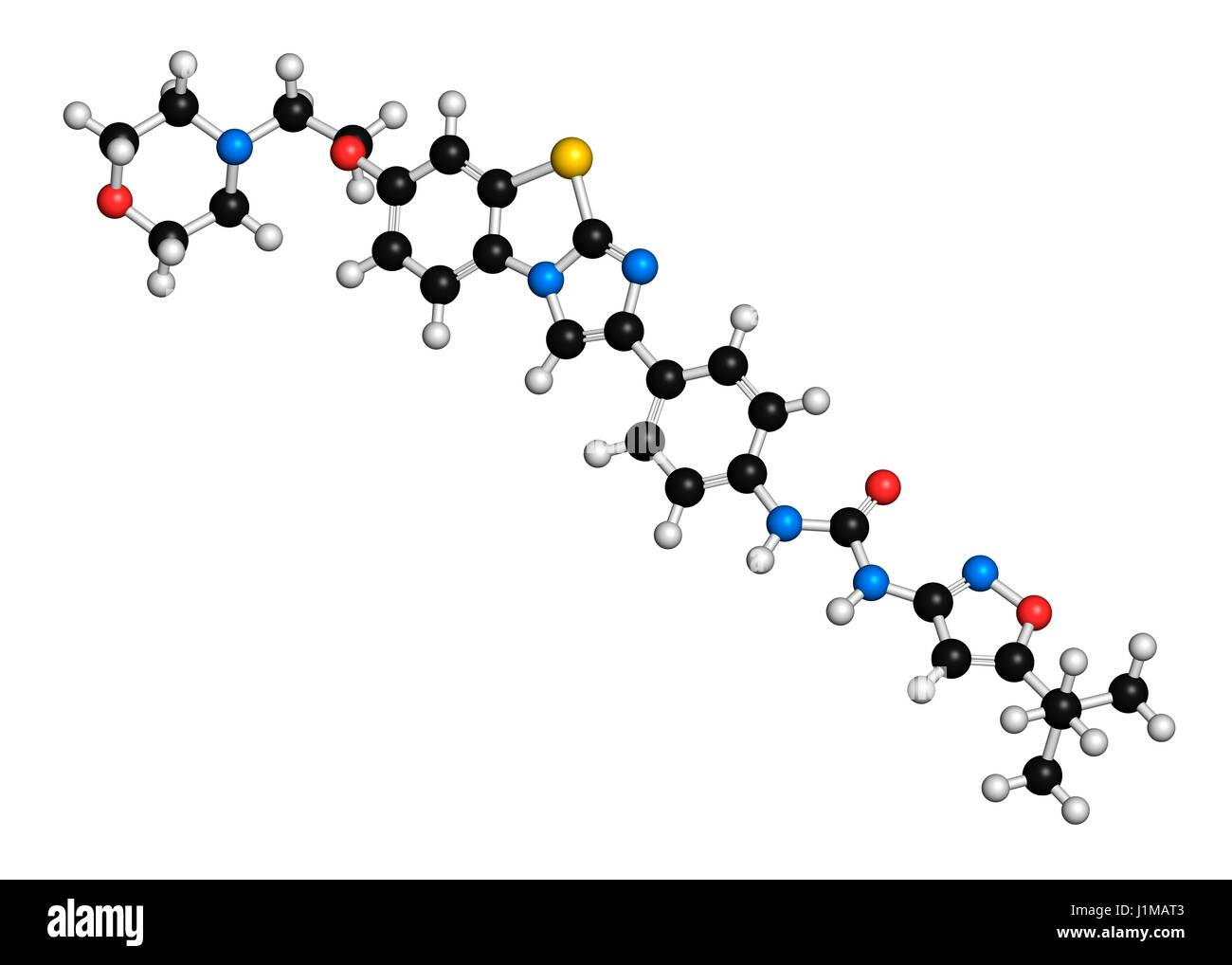 Quizartinib cancer drug molecule (kinase inhibitor). 3D rendering. Atoms are represented as spheres with conventional - Stock Image