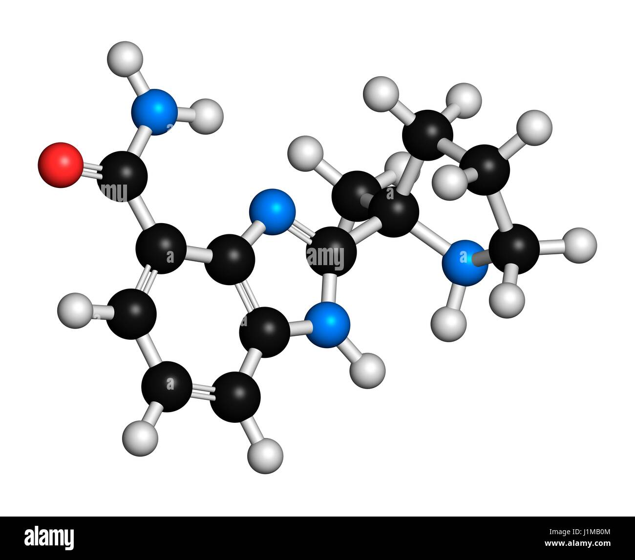 Veliparib cancer drug molecule (PARP inhibitor). 3D rendering. Atoms are represented as spheres with conventional Stock Photo
