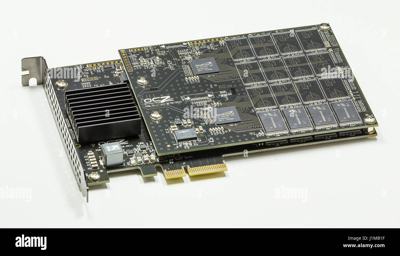 Photograph of a 240 GB solid-state drive (SSD, also known as a solid-state disk. This is a solid-state storage device - Stock Image