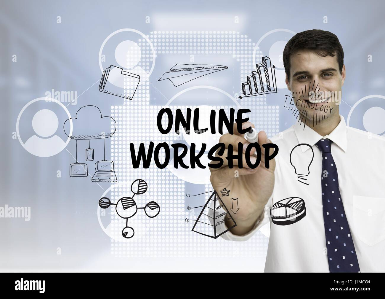 Digital composite of Business men drawing online workshop graphic ...