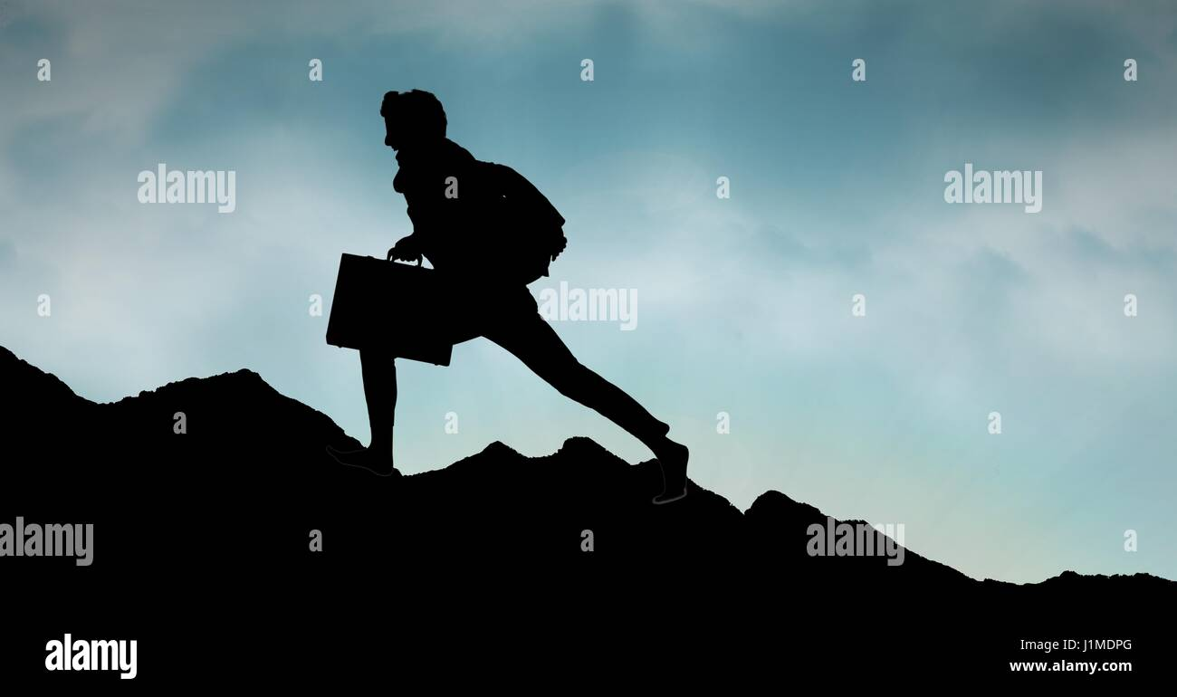 Digital composite of Silhouette business person walking on mountain against sky Stock Photo