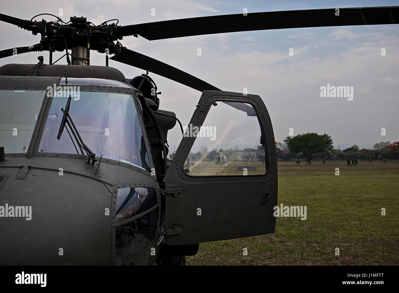 Front view of military helicopter cockpit - Stock Image