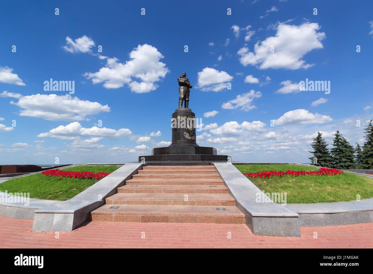 Nizhny Novgorod, Russia, July 20, 2013, Valery Chkalov monument - Stock Image