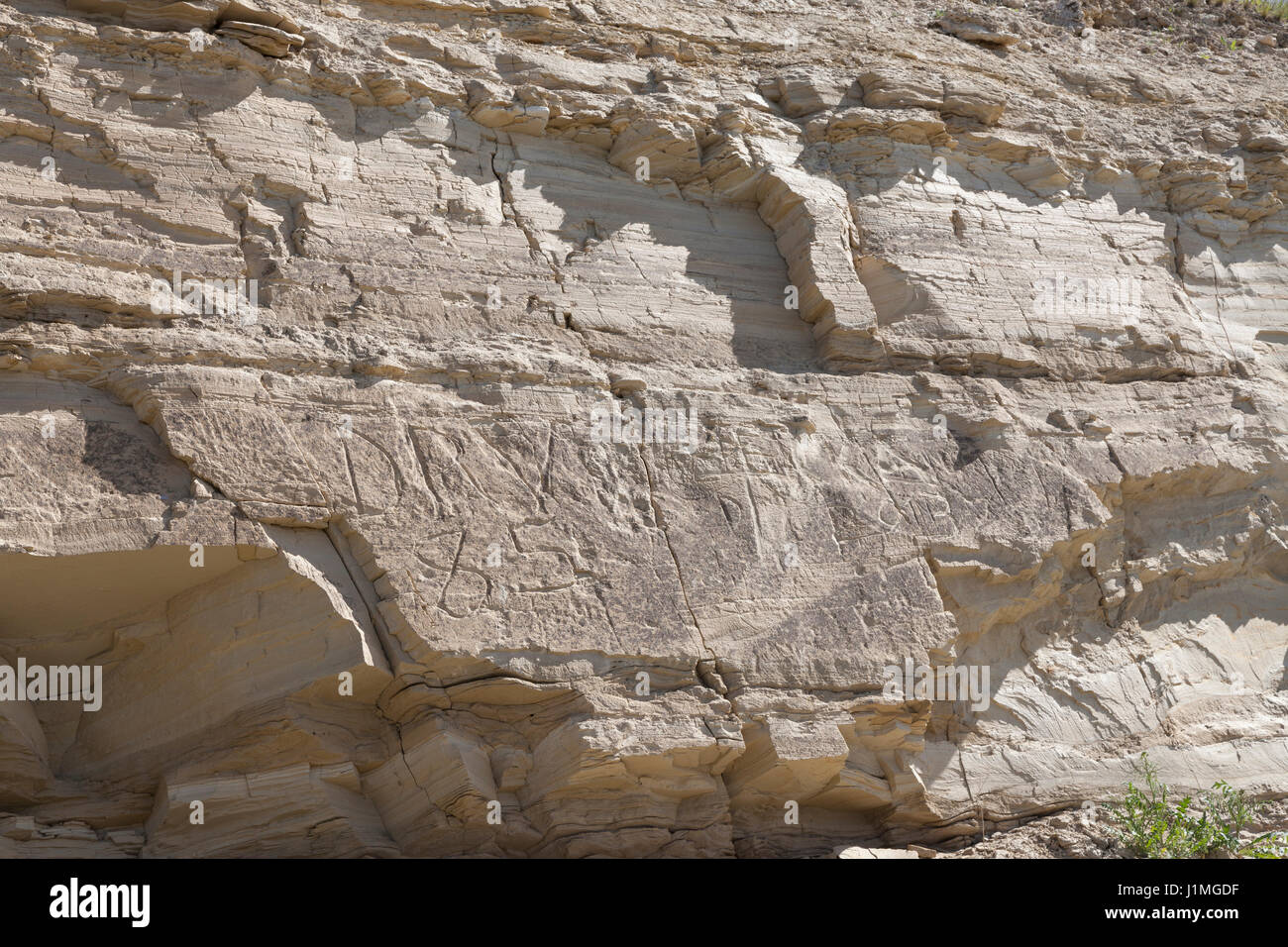 Franklin County, Washington: Graffiti on the White Bluffs along the Columbia River in Hanford Reach National Monument. - Stock Image