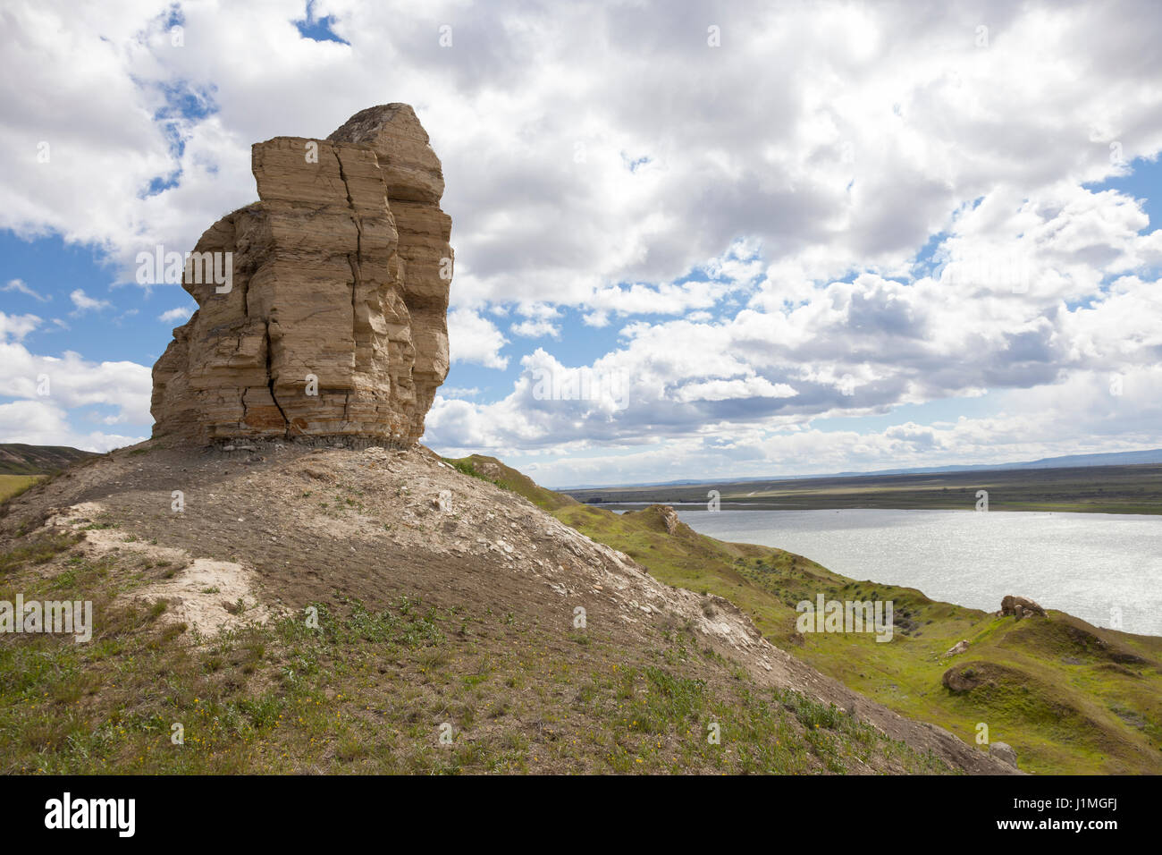 Franklin County, Washington: Rocky outcrop on the White Bluffs along the Columbia River at Hanford Reach National - Stock Image
