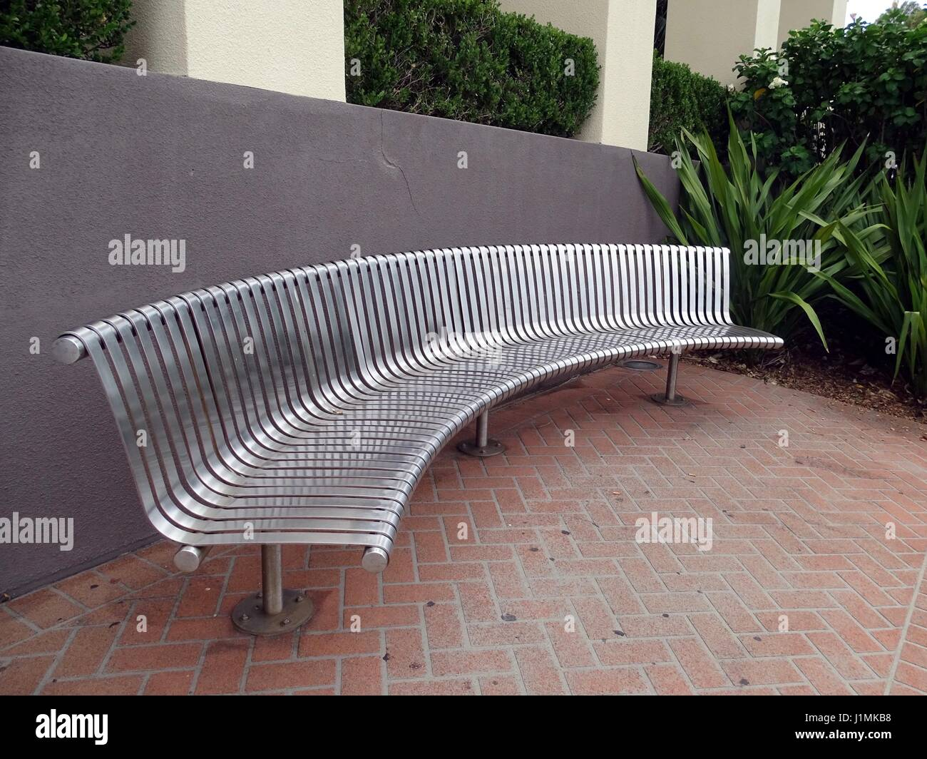 Picture of: A Curved Bench Seat Stock Photo Alamy