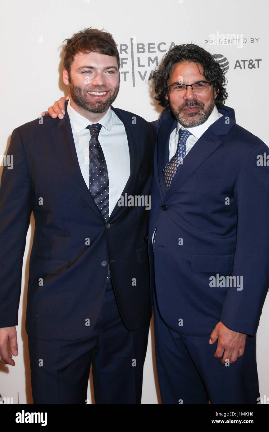 NEW YORK, NY 20: Producer Ken Biller (L) with Seth Gabel  attends National Geographic's 'Genius' Premiere - Stock Image